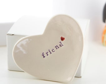 Friendship Ring Dish Gift For Friend Ceramic Ring Dish - comes with gift box