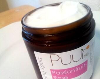 Passionfruit Rose Vegan Body Butter Moisturizing Body Lotion 4oz Amber Glass Jar Paraben Free