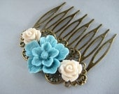 Blue Sakura Flower Hair Comb In Antique Brass,Flower Hair Accessories,Rose hair accessories,Wedding Hair Accessories,Bridal Hair Accessories