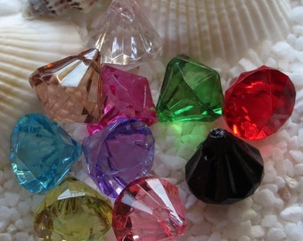 Acrylic Faceted Drops Pendants - CHOICE OF COLORS - 12mm x 12mm - 25 pcs