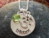 Personalized hand stamped sterling silver disc with Om charm and crystal
