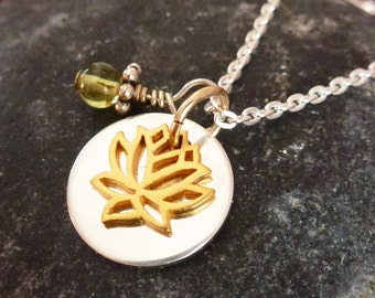 Gold vermeil lotus with sterling silver disc and peridot stone