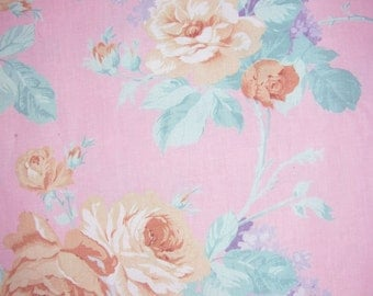Home Decor Fabric - Yellow Roses on Soft Pink Background - 4 yards