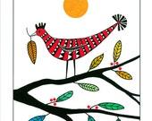 Art print, 10 x 8, Art drawing, Bird on tree, Tree art, Graphic art, multicolored, Black red green, Wall art, Leaves on tree, Fine art