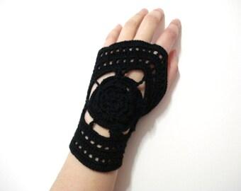 Crochet Fingerless Gloves, Black Lace Crochet Fingerless Gloves - Crochet mittens - Wrist warmer - Winter gloves