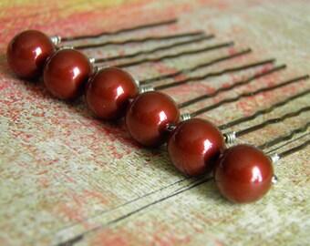 6 Dark Red Bordeaux 10mm Swarovski Crystal Pearl Hair Pins