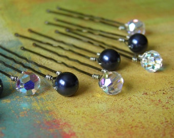 12 Swarovski 8mm Night Navy Blue Pearls and Crystals AB Hair Pins