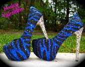 Zebra Black & Blue Glitter Heels