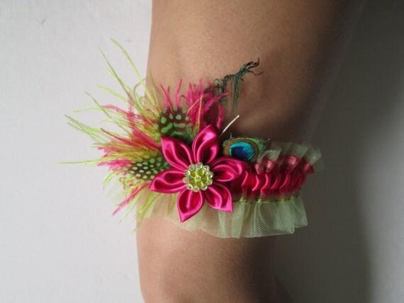 Pink Wedding Garter, Hot Pink Fuchsia / Lime Green Garter, Kanzashi Flower, Peacock Garter, Prom Garter, Beach / Destination Wedding