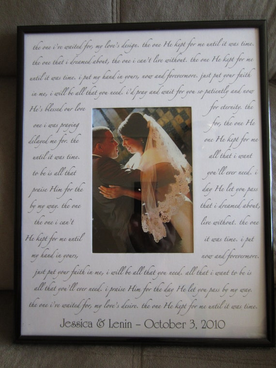 Custom Wedding Song Photo Mat With Frame Your Choice Of
