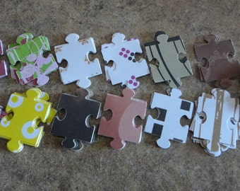Patterned & Kraft  Puzzle Pieces, altered art, scrapbooking, cardmaking