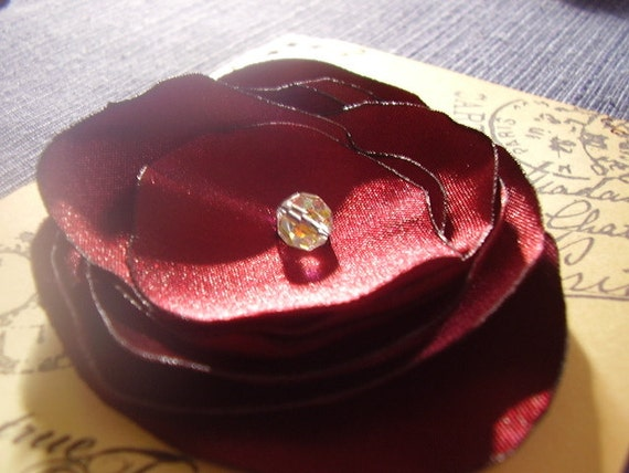 Beautiful Large Satin Flower with Crystal Bead. Elegant. Evening Wear. Hair Supply. Deep Color. Attach to Clip. Sew on Handbag