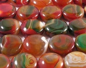 Agate, green-red, coin, 25 mm