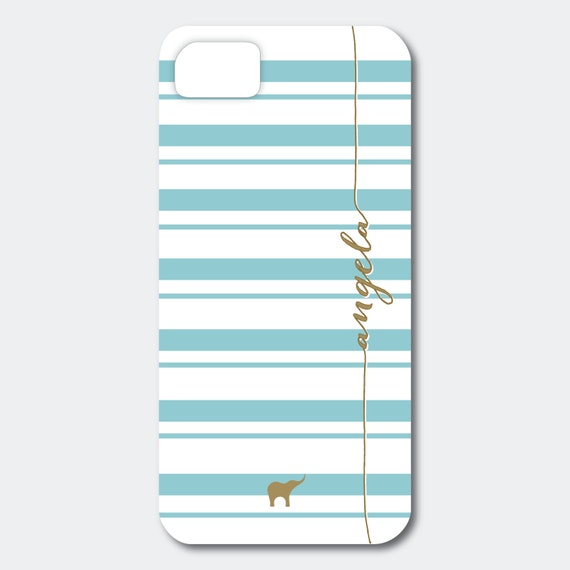 Personalized iPhone, Samsung Galaxy, or Blackberry Case - Angela Collection - Horizontal Stripes shown in Emerald and Gold