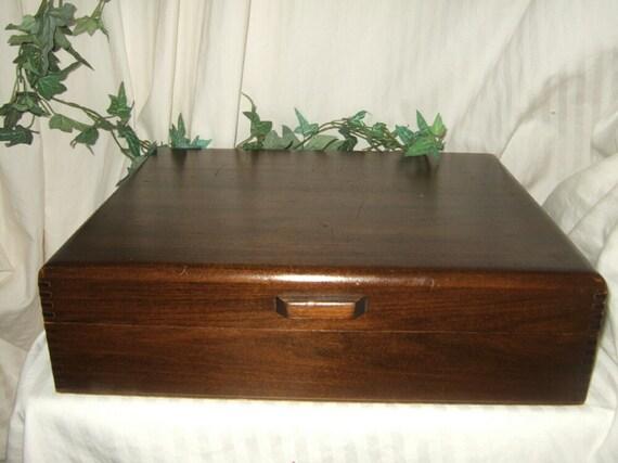 Vintage Naken's tarnish proof storage chest, wooden silver storage chest, cherry wood silverware storage, silver flat ware chest,