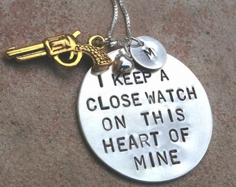 johnny cash necklace, i keep a close watch on this heart of mine, personalized necklace, gifts for her, sterling silver hand stamped