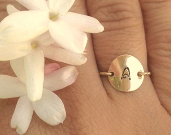 Gold Initial Ring, Christmas Gifts Women, Personalized Rings, Hand Stamped Initial Ring, Daughter Ring, Gold Ring