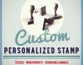 Custom Stamp mounted on wood. Madera Personalizados. new 7 sizes