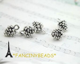 Wholesale-50pcs three D fabulous antique silver pine cone charms-F721