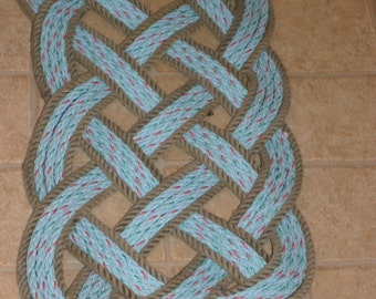 "Throw Rope Rug 35 X 14"" Nautical Decor Blue Mat with Natural Trim Indoor Outdoor Uses Door Mat Beach Coastal Living"