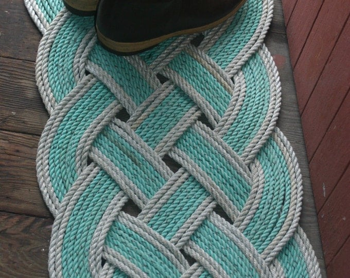 """Eco-Friendly Green with Silver Accented Trim Rope Rug 36"""" x 15"""" Recycled Rope Doormat Nautical"""