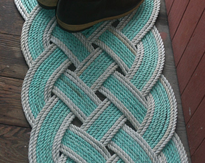 """Eco-Friendly Awesome Silver & Green Rope Rug 36"""" x 15"""" Recycled Rope Unique Gift"""
