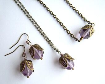 TULIPA jewelry set, necklace bracelet earrings, light amethyst bracelet, czech bead in filigree brass cap, spring fashion, modern romantics