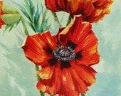 Orange Red Poppy, Acrylic Painting, Original Painting, Canvas Art