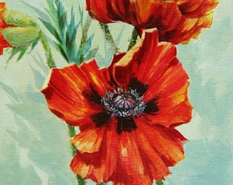 Orange Red Poppy, Acrylic Painting, Original Painting, Canvas Art