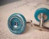 Initial Cuff Links - Handpainted -  Hand Stamped - Custom Order - Gift Bag