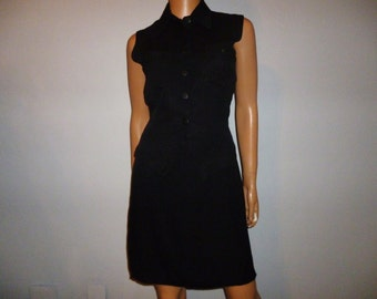 Vintage 80's - Black - Mini - 2 Piece - Top and Skirt - Suit - Set - marked size medium