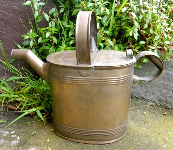 Antique Copper Watering Cans: Antique ENGLISH WATERING CAN Brass With Copper Bottom Holds 6