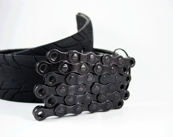 Recycled Bike Chain Belt Buckle- Flat- Transparent Black Finish