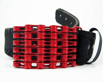 Recycled Bike Chain Belt Buckle- Curved- Red Finish