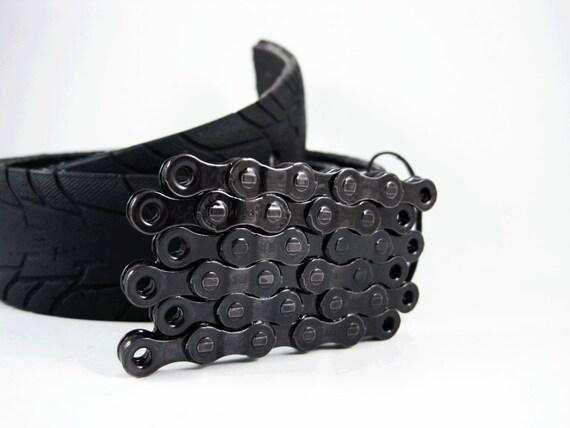 Recycled Bike Chain Belt Buckle- Flat- Transparent Black Finish