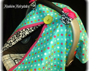 Carseat Canopy Damask Dots  REVERSABLE FREE SHIPPING