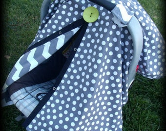 car seat canopy / car seat cover / car seat tent / carseat canopy / carseat cover / nursing cover Grey Chevron Lime Button REVERSABLE