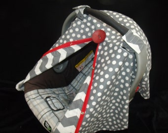 Car seat Canopy Grey Dot Chevron Red Facing REVERSABLE Universal carseat Canopy nursing cover carseat tent