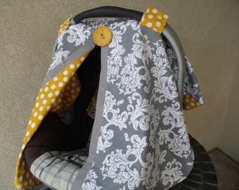 Carseat Canopy FREE SHIPPING Grey Scroll Mustard Dots