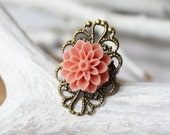 Shabby Chic Jewelry - Resin Flower Ring - Mum Ring - Flower Jewelry - Bridesmaid Jewelry - Hippie Ring - Gifts under 15 - Filigree Ring