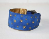 Italian Greyhound Martingale or Wide Clip Collar - Modern Metallics Collection - Royal Blue with Scattered Gold Stars