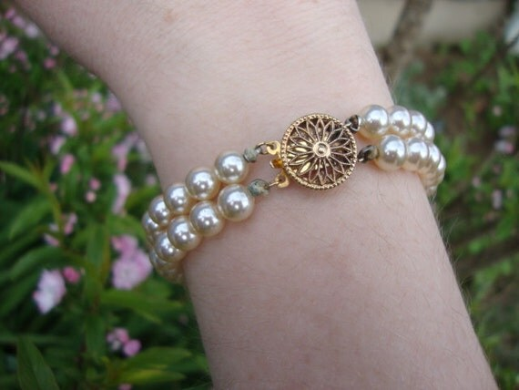 Exceptionally Lovely Faux Pearl Bracelet with Gold Vermeil Filagree Clasp