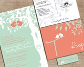 Mint Green and Coral Wedding Invitations, Custom Love Birdies Wedding Invites, Sample