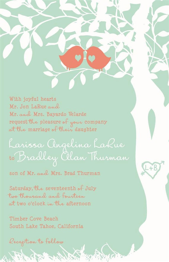 Mint Green And Coral Wedding Invitations, Custom Love Birdies Wedding  Invitation Suite With RSVP Postcards And Address Labels