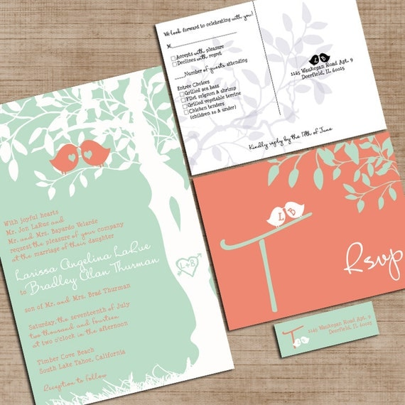 mint green and coral wedding invitations custom love birdies, Wedding invitations
