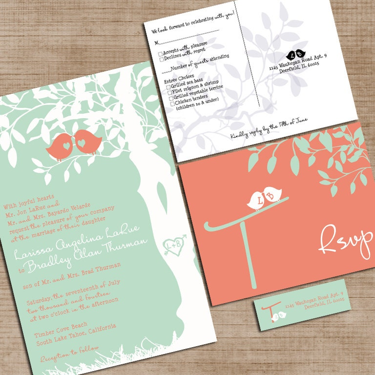 mint green and coral wedding invitations custom love birdies,