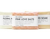 BATH TRIO - bundle of three 5 ounce packettes - Floral Milk Bath, Mustard Soak, Pink Love Salts - organic - handcrafted - apothecary