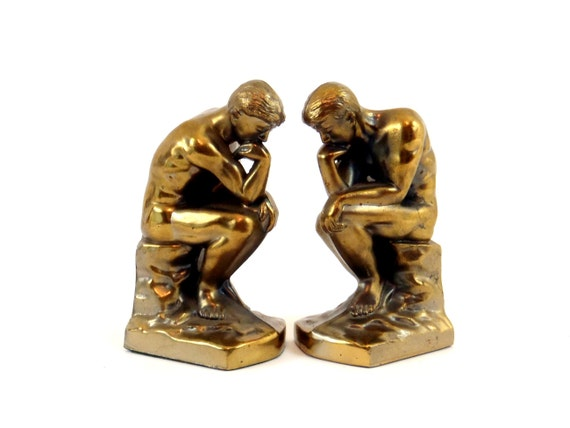 ART DECO Bookends 1920s Thinking Man Bookends Bookcase Shelf Set