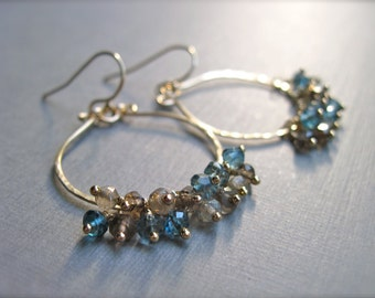Smoky Quartz and Teal Quartz Hammered Gold Hoop Earrings, Handcrafted Dangle Earrings, Teal and Brown Gemstone Earrings