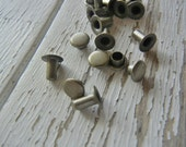 Extra Small Single CAP Rivets - ANTIQUE Brass Plated - Great for Leather and Metal - 100 Pack - Hand Stamped Leather Craft Making Supply